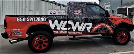 west coast wheel repair wrapped truck